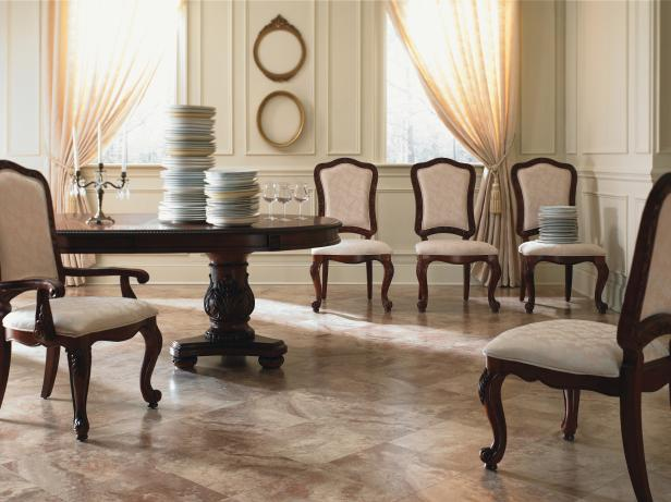 Traditional Neutral Dining Room With Marble Laminate Flooring