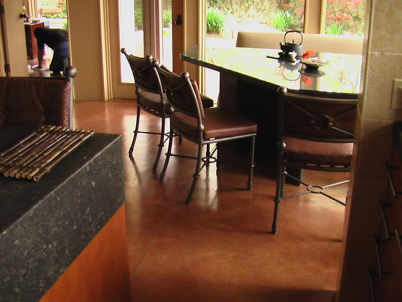 Stained Concrete Floor In Breakfast Nook