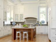 Coffered Ceiling Used in Traditional White Kitchen