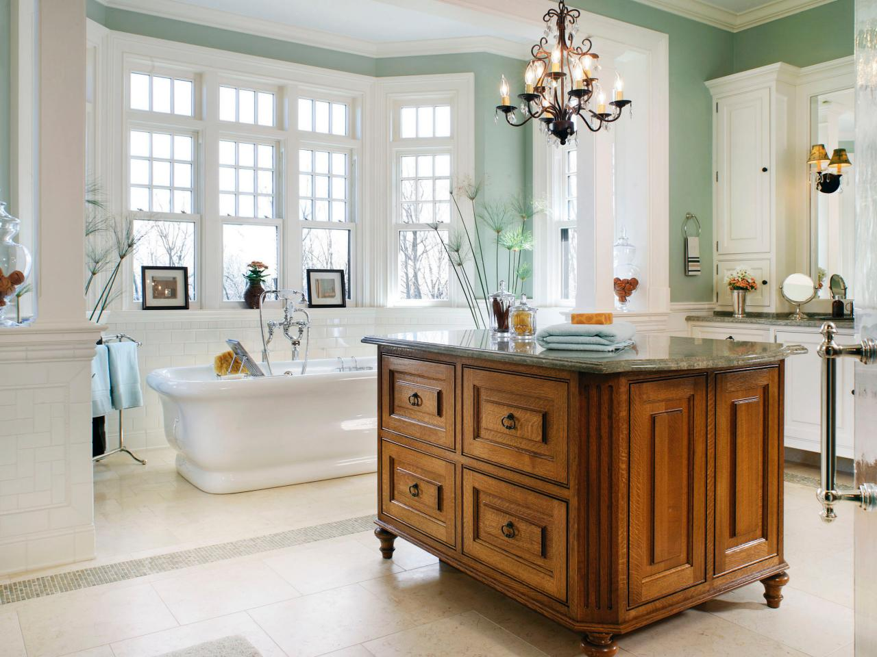 Freestanding Island Centered In Master Bathroom