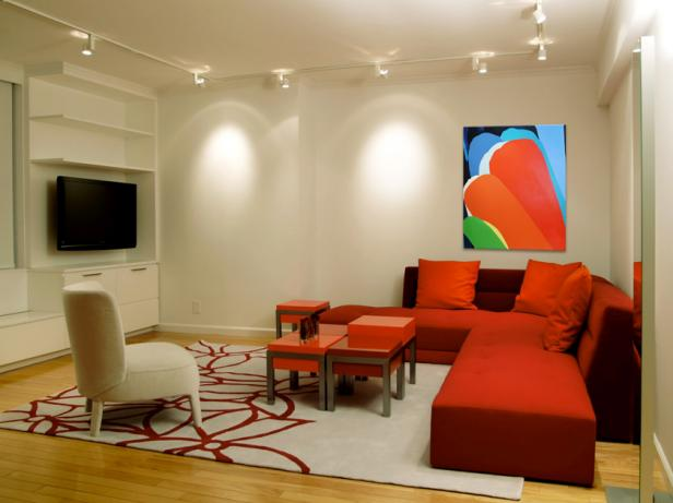 Lighting tips for every room hgtv dpberliner red modern living rooms4x3 aloadofball Image collections