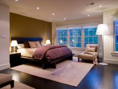 Tan Bedroom With Large Window Wall