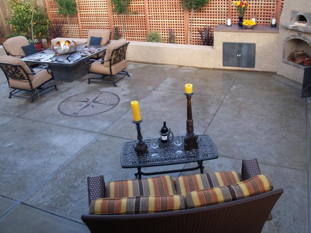Concrete Patios | HGTV on backyard water ideas, backyard building ideas, backyard wood ideas, backyard slate ideas, backyard gravel ideas, sloped backyard ideas, backyard landscaping ideas, backyard floor ideas, backyard pavers ideas, backyard rock ideas, backyard stone ideas, backyard construction ideas, backyard tile ideas, backyard sand ideas, backyard grass ideas, small backyard ideas, backyard furniture ideas, backyard food ideas, backyard paint ideas, backyard brick ideas,