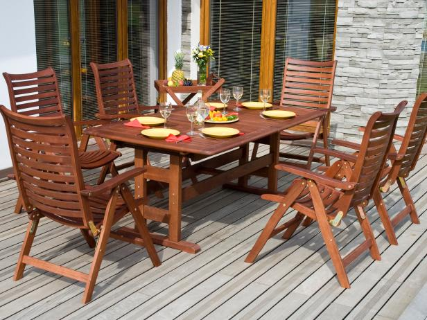 Teak Patio Furniture HGTV - Teak patio table with leaf
