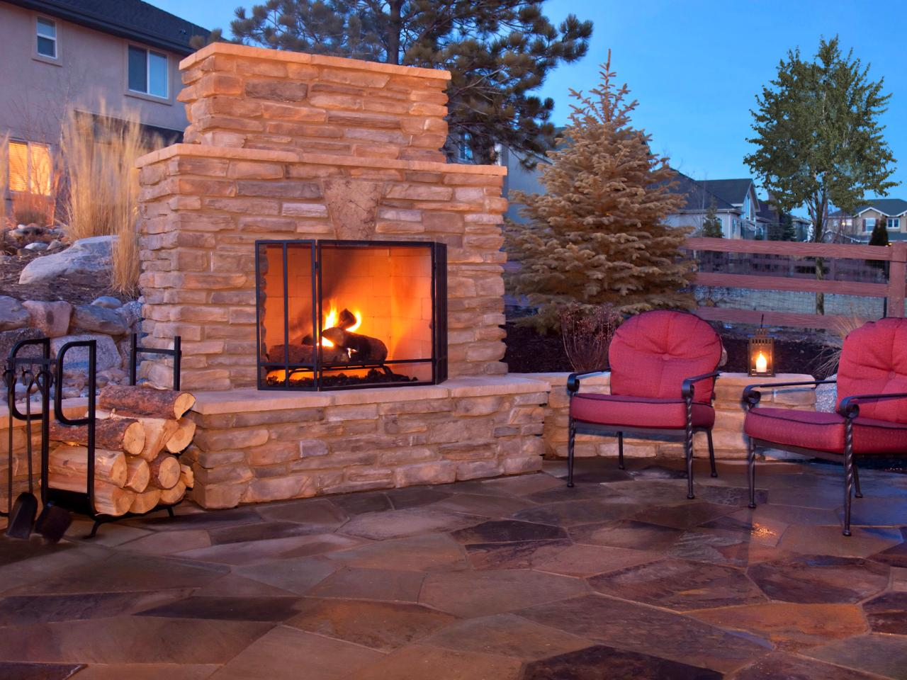 Investigate how to plan for building an outdoor fireplace