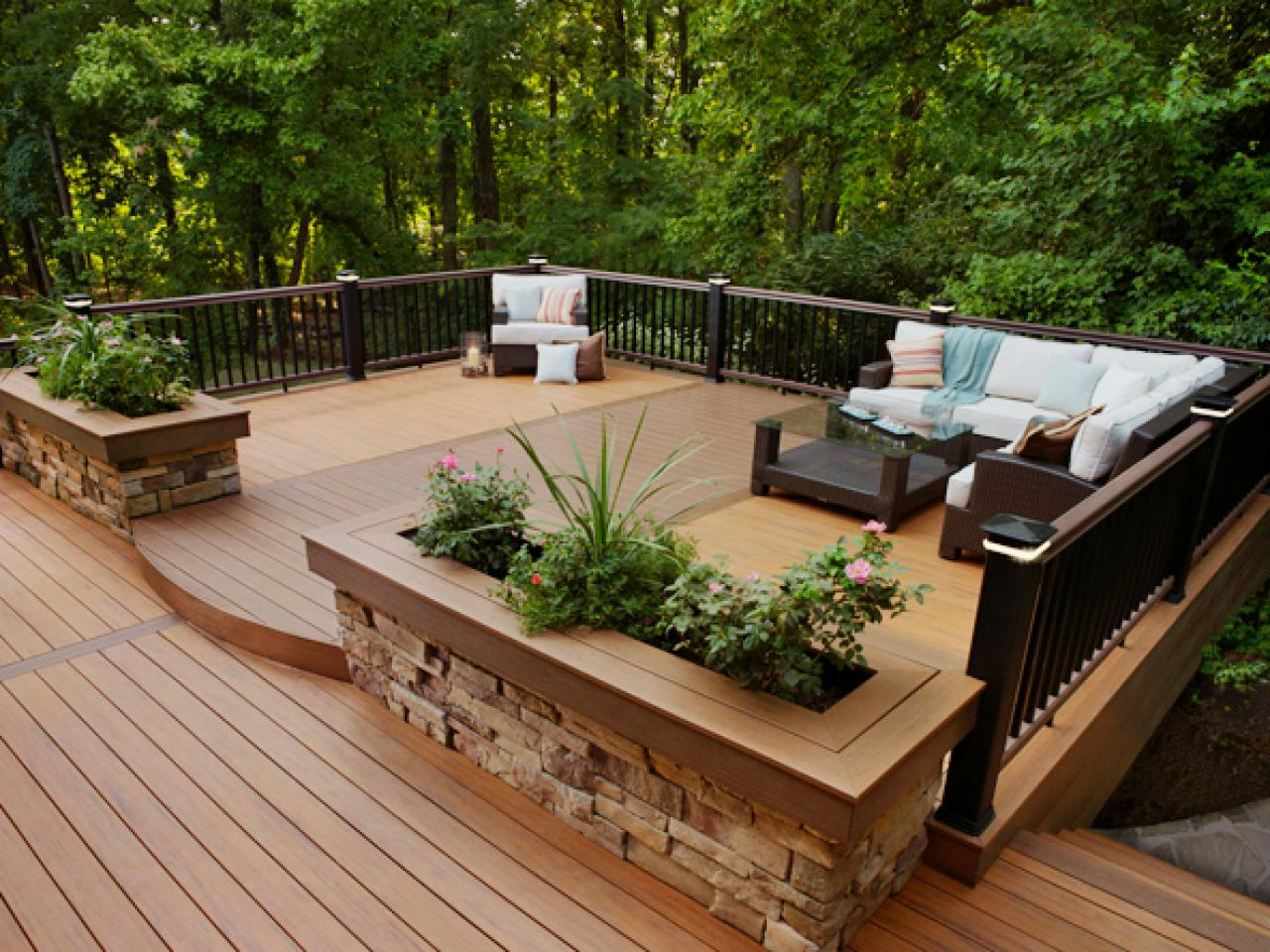 Deck designs ideas pictures hgtv for Outside decking material