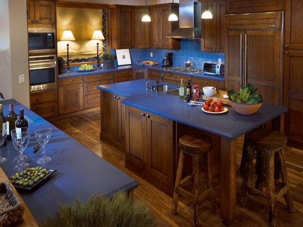 Rustic blue kitchen