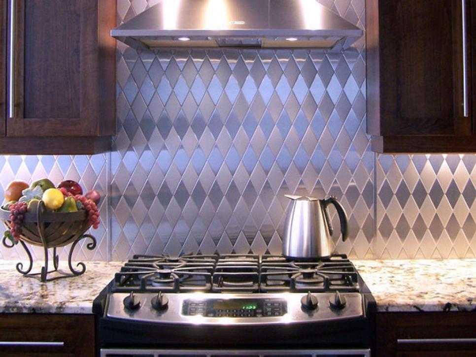 Peel And Stick Stainless Steel Metal Backsplash Tile For Kitchen