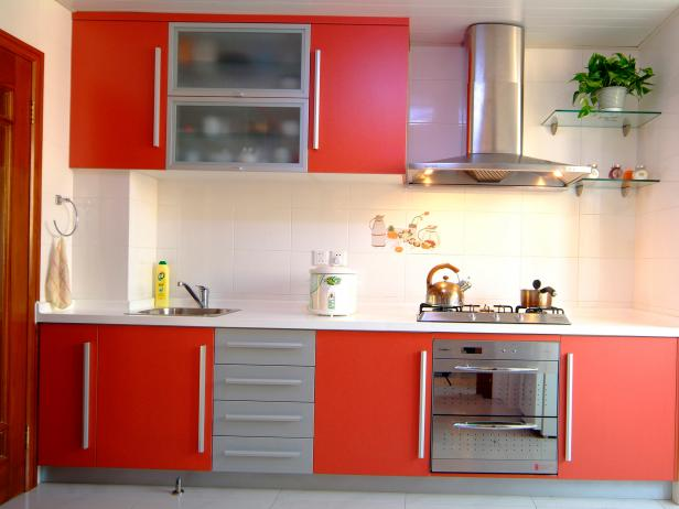 Red Kitchen Cabinets Pictures Options Tips Ideas HGTV - Red and grey kitchen cabinets