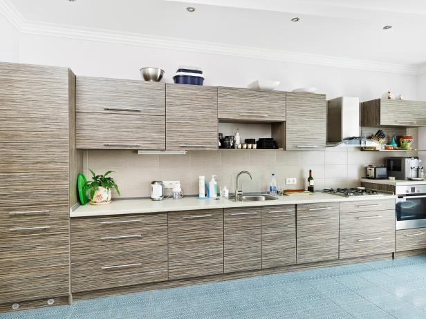 Awesome Modern Gray Bamboo Kitchen Cabinets