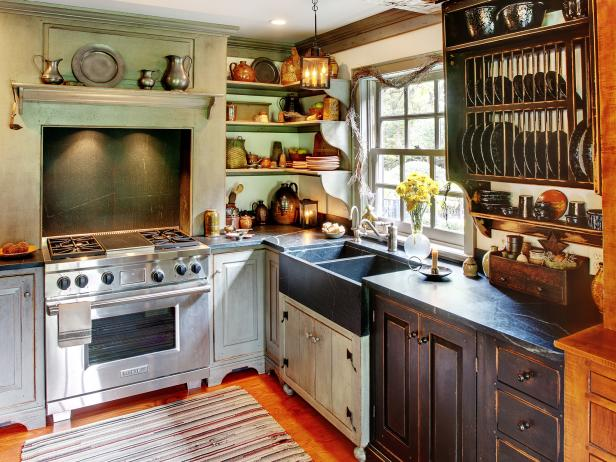 Country Style Kitchen with Recycled Cabinets