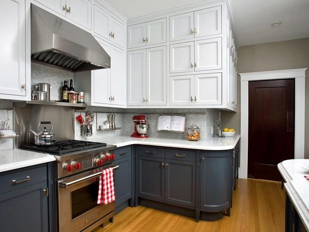 TwoToned Kitchen Cabinets Pictures Options Tips Ideas HGTV - Kitchens in grey tones