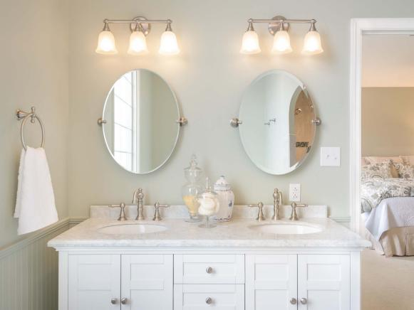 Bright, Charming Bathroom With Double Vanity