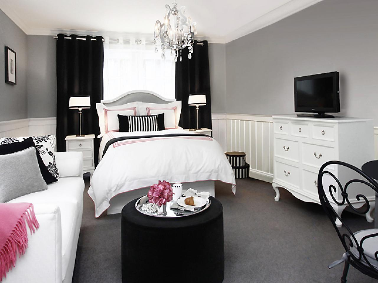 black and white bedroom with a pop of color optimize your small bedroom design hgtv 21310