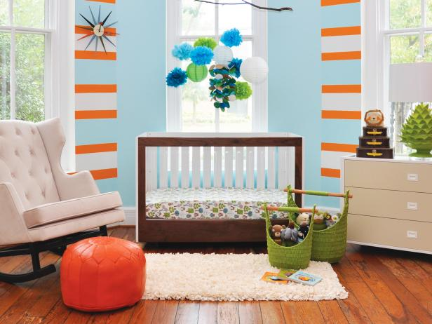 Modern Blue, Orange And Green Nursery