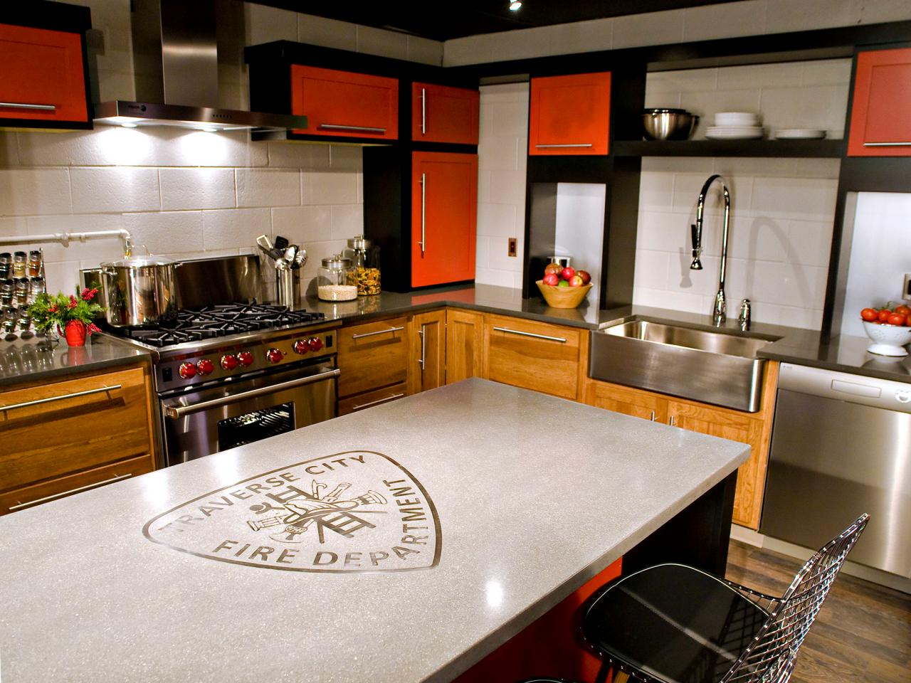 Concrete kitchen countertops pictures ideas from hgtv for Kitchen counter decor