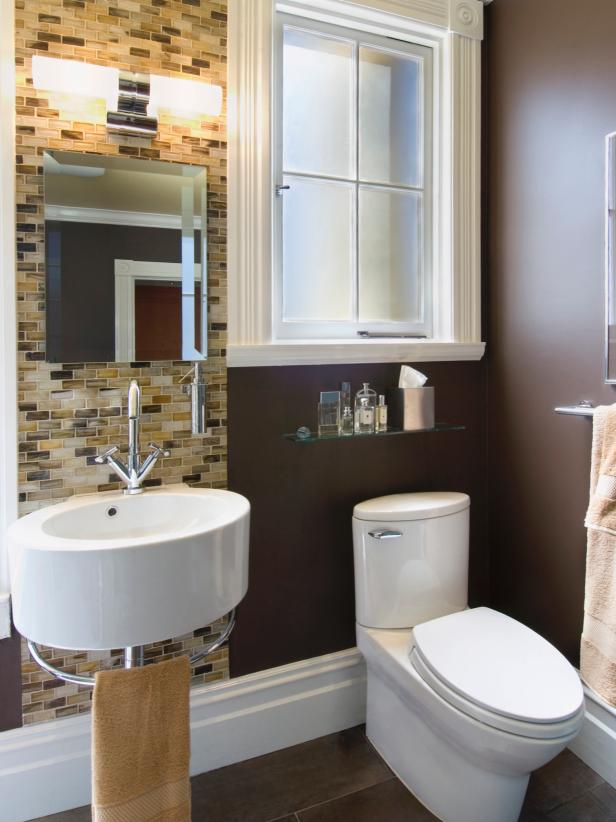 Attractive Small Gray Modern Bathroom With Brown Tile Wall