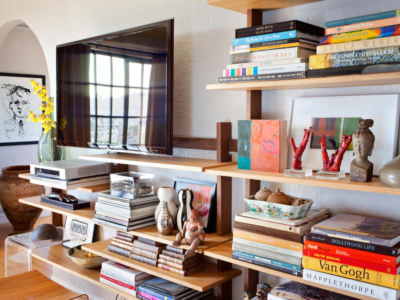 Living room built in shelves hgtv How to store books in a small bedroom