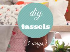 In just a few simple steps (and under fifty cents each!) you can make trendy tassels perfect for dressing up bedding, clothing, lamp pulls and more.