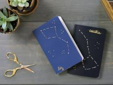 Customize plain pocket notebooks with a trendy constellation motif using mini brads from the scrapbooking section and a simple embroidery technique.