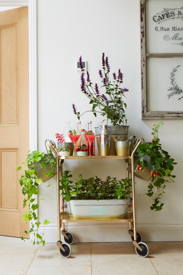 Gold Bar Cart With Built-In Planters for Edible Plants