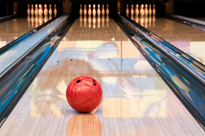 Bowling Lane With Red Ball