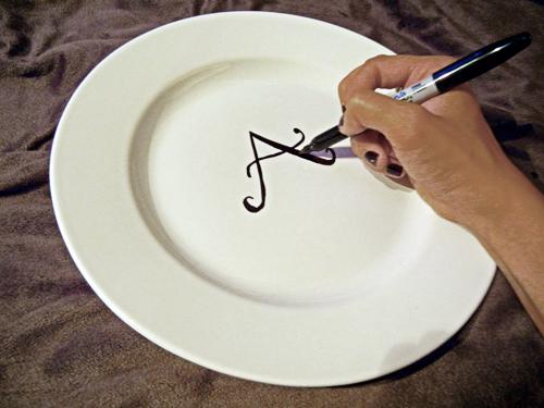 Add Calligraphy Effect & Make a Monogrammed Plate Using a Marker   HGTV\u0027s Decorating \u0026 Design ...