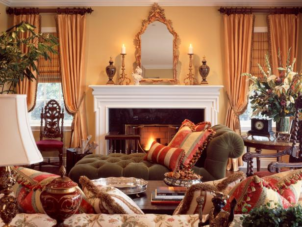 Multiple Fabrics Create Traditional Living Room