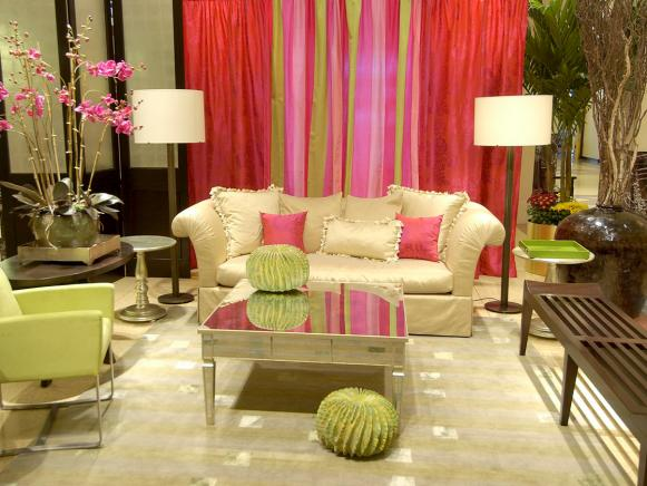 Neutral Living Room with Colorful Curtains