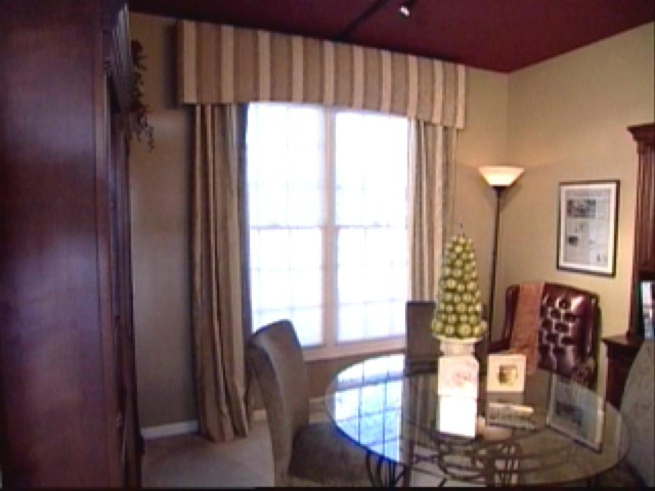 Make a fabric covered cornice and lined window panels hgtv Window treatment ideas to make