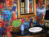 vivid wallpaper greets powder room guests