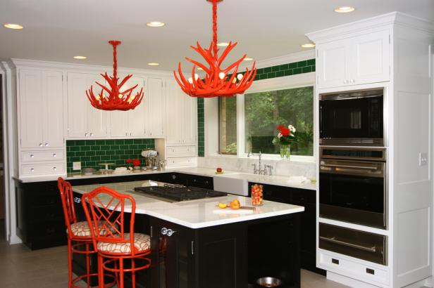 Green and White Kitchen with Poppy Red Accents