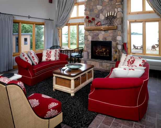Neutral Room Red Sofas