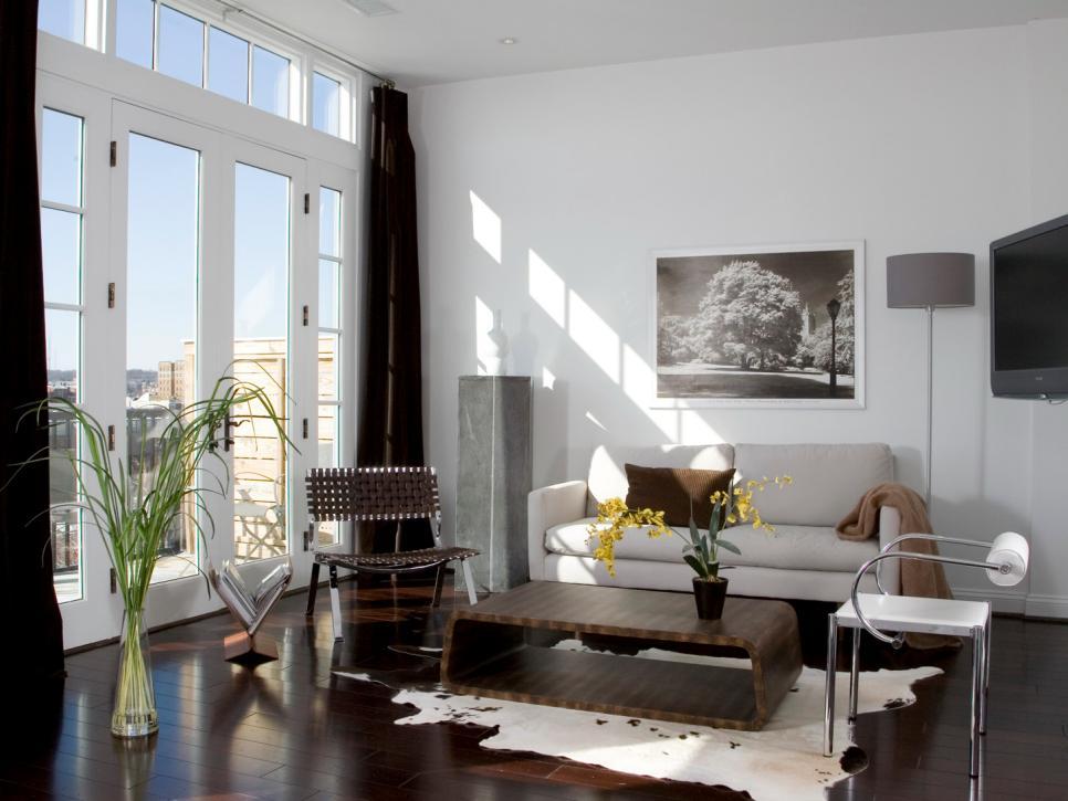 Modern Living Room With Cowhide Rug Hgtv