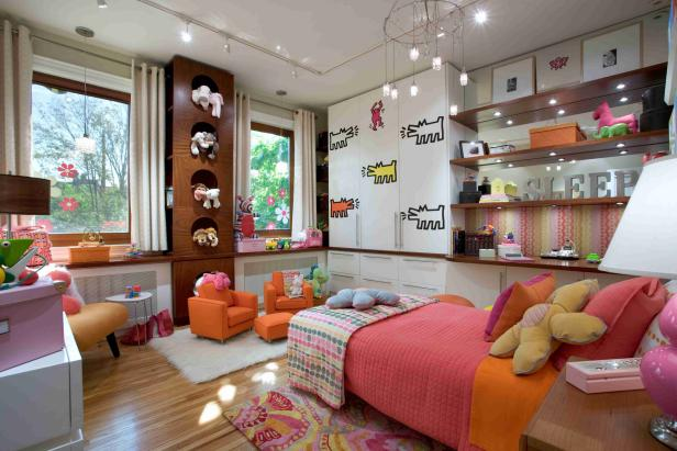 Girl's Room With Open Shelves, Pink and Orange Twin Bed, Mini Chairs