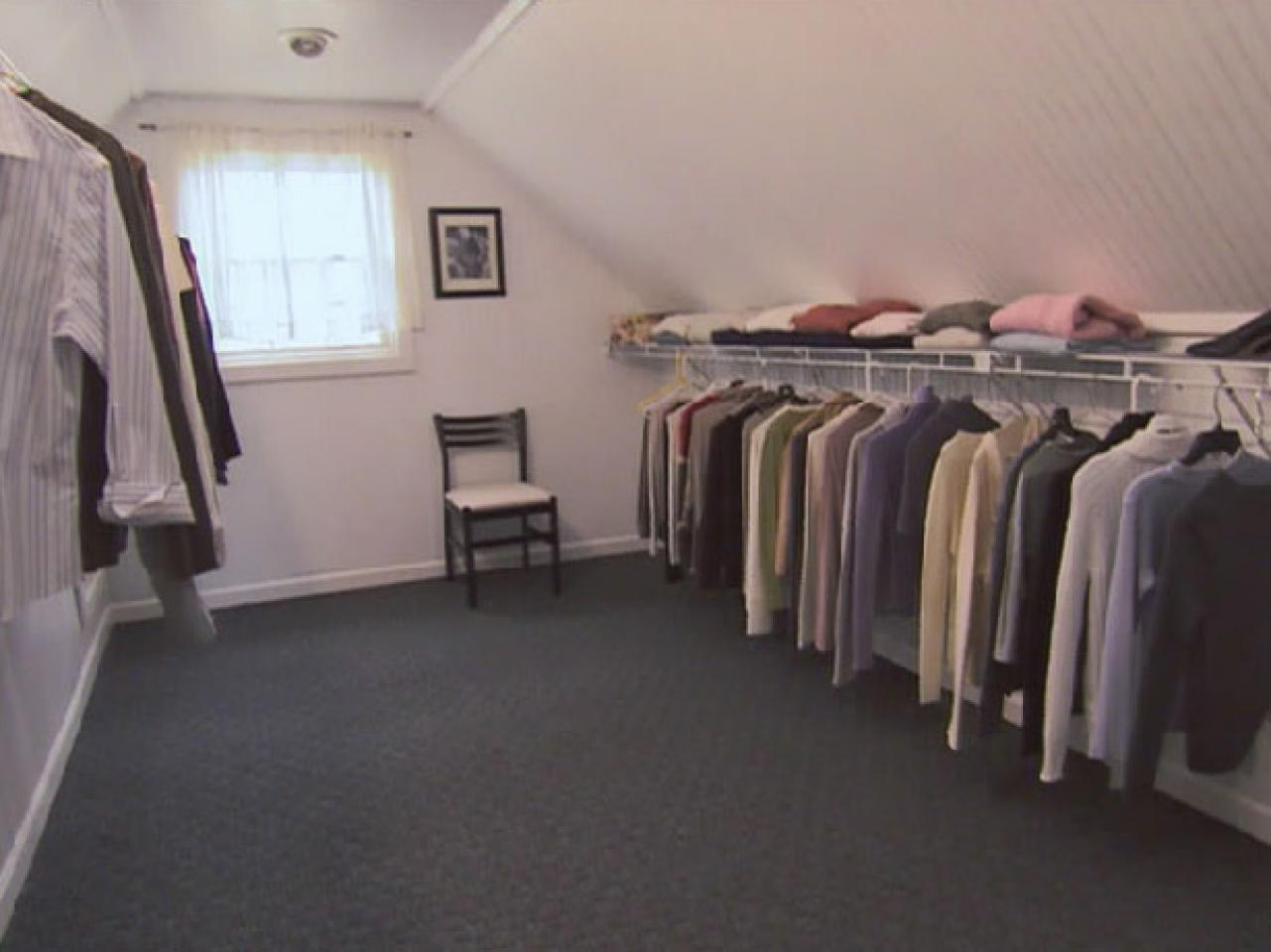 Turn An Unfinished Attic Into A Walk In Closet Hgtv