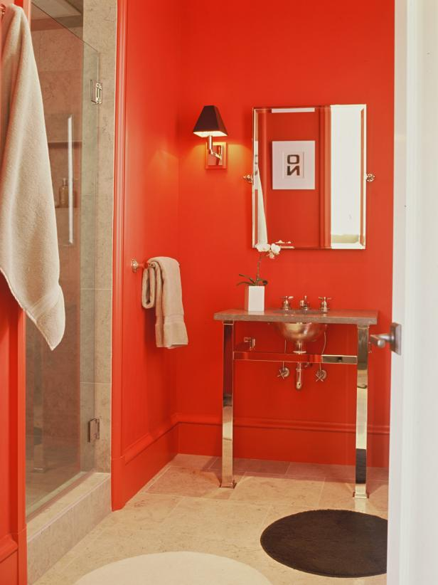 Martha Angus Red Bathroom