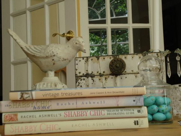Shabby Chic End Table with Books