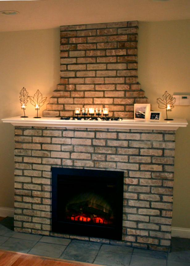 Building an Electric Fireplace with Brick Facade | HGTV