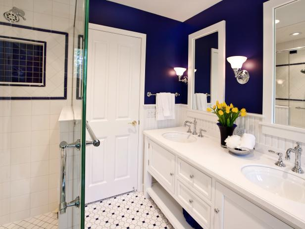 Blue and White Bathroom With Yellow Tulips