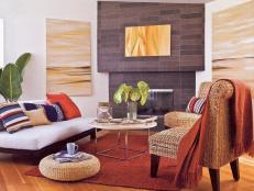 Neutral Contemporary Living Room With Orange Rug