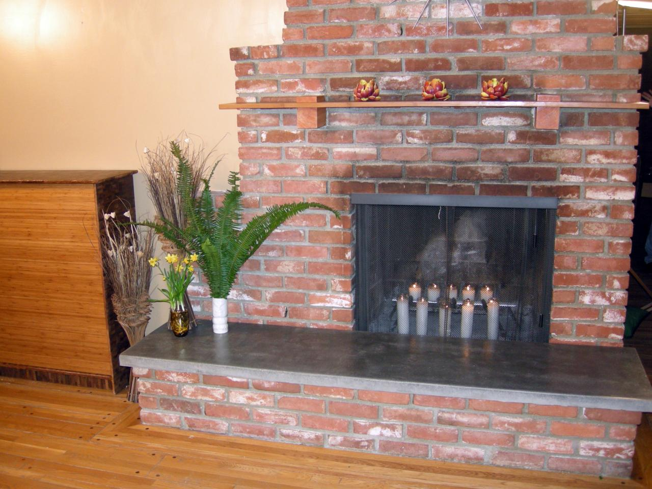 Carter builds a new concrete hearth to update an old 1950s fireplace.