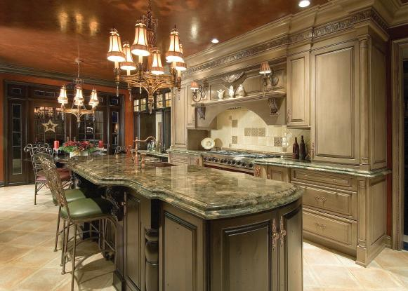 Elegant Kitchen With  Metallic Ceiling