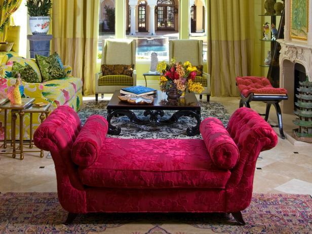 Pink Chaise Lounge in Eclectic Green Living Room