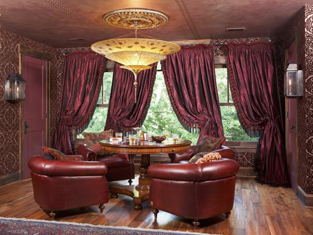 Ornate Seating Area With Leather Ceiling