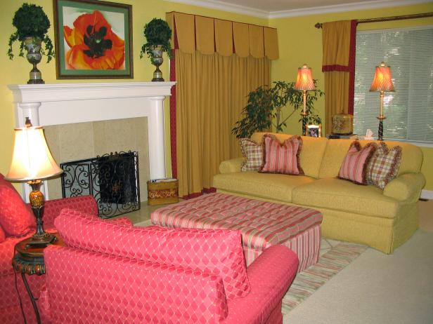 Yellow and Red Living Room With Fireplace