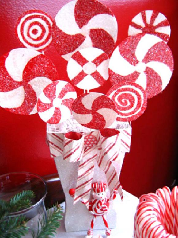 Peppermint Stripe Christmas Centerpiece