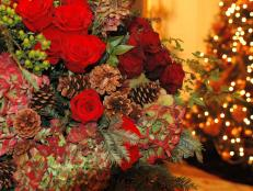 Beautiful Christmas Arrangement With Red Roses