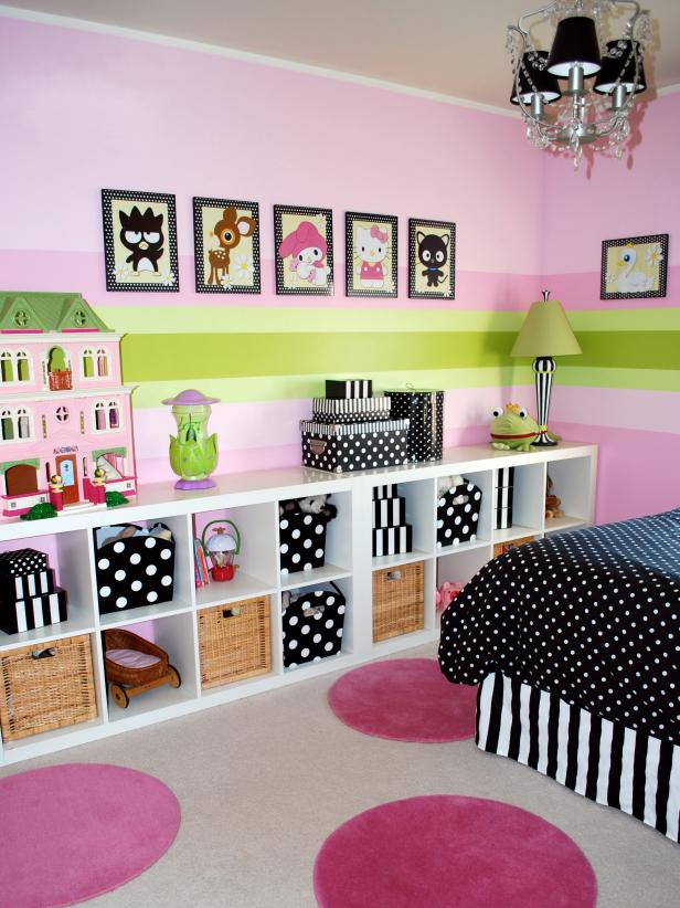 Girlsu0027 Bedroom With Modular Storage Bookcase