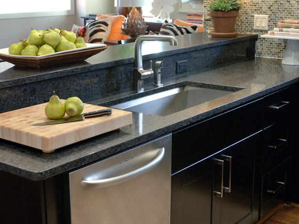 Contemporary Black Countertop and Kitchen Sink